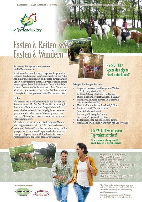 Informtionsblatt zum Thema Fasten & Reiten