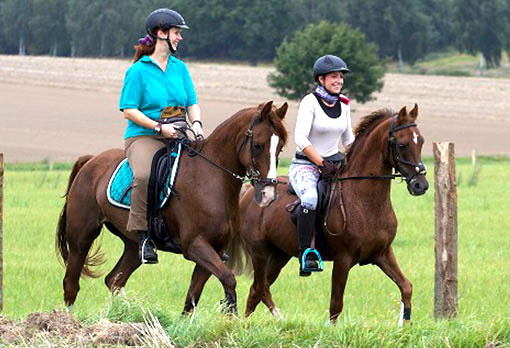 2 Reiterinnen mit Pferden während M-Woche im Elbtal