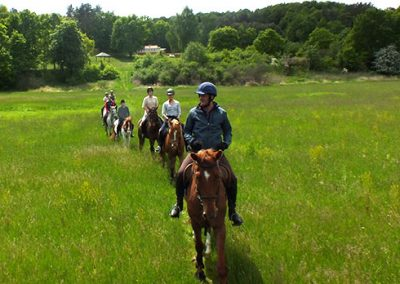Mehrere Reiter reiten hintereinander auf einem schmalen Pfad während des Erlebnisreiten Adventure Week