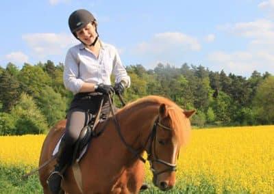 Reiterin steht mit ihrem Pferd neben ein blühendes Rapsfeld in der Lüneburger Heide