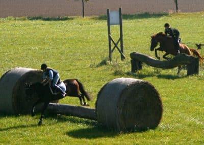 Zwei Reiter springen über Baumstämme auf dem Geländeplatz bei Pferdeschulze