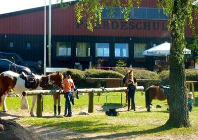 Kinder bereiten ihre Pferde für den Reitunterricht vor im Landhotel Pferdeschulze