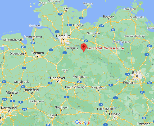 Luftbild auf Norddeutschland, Standort Landhotel Pferdeschulze